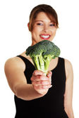 Woman with broccoli — Stock Photo