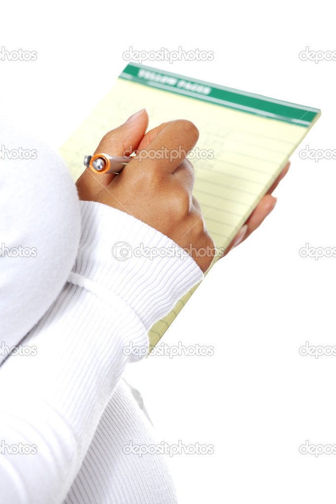 Pregnant woman taking notes in a diary - diary closeup, zoom in on the hand, isolated on a white background. — Stock Photo #8617143
