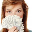 Teen woman with dollars — Stock Photo