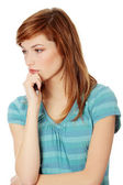 Young woman thinking about a problem — Stock Photo