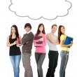 Thinking students with thought bubble — Stock Photo #9200084