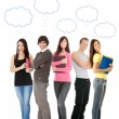 Thinking students with thought bubbles — Stock Photo
