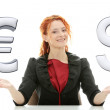 Stock Photo: Businesswoman with euro and dollar 3d symbol