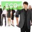 Businessman pushing ECO on a touch screen interface. — Stock Photo #9200573