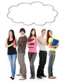 Thinking students with thought bubble — Stock Photo