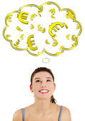 Casual caucasian woman daydreaming about euro (ern or win). — Stock Photo