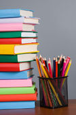 Stack of books and pencils — Stock Photo