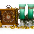 Christmas still life with a clock — Stock Photo