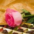 Pink rose and chocolate box — Stock Photo