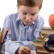 Boy does homework - Stock Photo