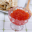 Stock Photo: Pancakes with red caviar on a plate.