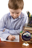 Boy does homework — Foto Stock