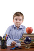 Boy does homework — Stock Photo
