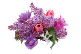 Beautiful spring bouquet with lilacs and tulips — Stock Photo