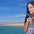 Woman at Beach with Martinii — Stock Photo