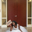 Stock Photo: Unemployed Black womin wedding dress