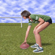Black Woman Football Player - Stock Photo