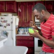 Stock Photo: Black Man Eating