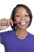 Beautiful Black Woman Brushing Teeth — Stock Photo