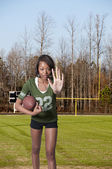 Black Woman Football Player — Stock Photo