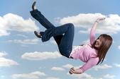 Woman Falling Through the Sky — Stock Photo