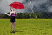 女性の持ち株の傘 — ストック写真