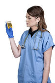 Woman Doctor with Urine Sample — Stock Photo