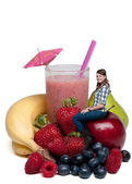 Woman with Fruit Smoothie — Stock Photo