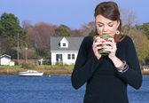 Woman Drinking Coffee — Foto Stock