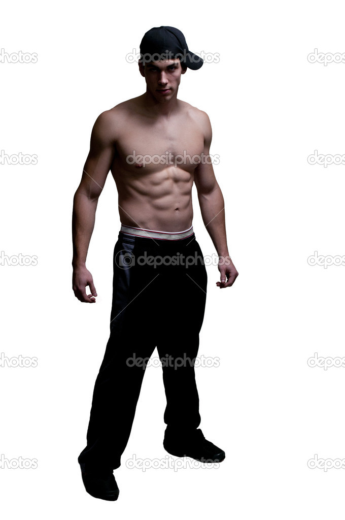 Beautiful atteactive young fit muscular man standing  Stock Photo #8810136