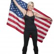 Woman with a Flag - Stock Photo