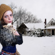 Foto Stock: Woman Blowing Snow