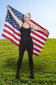 Woman with a Flag — Stock Photo