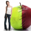 Tenage Woman with Red Delicious Apple with Nutrition Label — Stock Photo #9291971