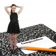 Teenage Woman with Pencil and Notebook — Foto de Stock
