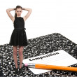 Teenage Woman with Pencil and Notebook — Stock Photo