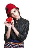 Valentines Day Heart Woman — Fotografia Stock