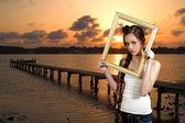 Woamn in a Frame — Stock Photo
