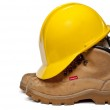 Hard Hat and Work Boots — Stock Photo #9858068