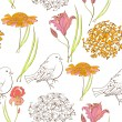 Seamless wallpaper with bird and flowers — Stock Vector