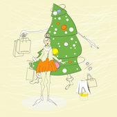 Donna con la borsa della spesa — Vettoriale Stock