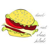在白色背景上孤立的汉堡包 — 图库矢量图片
