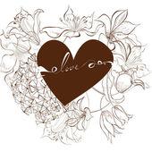Iscrizione amore con cuore — Vettoriale Stock