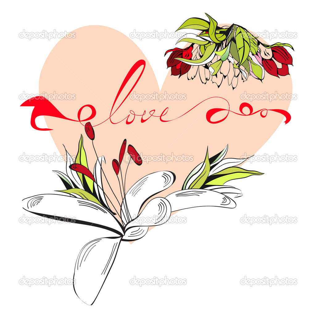 Inscription love with heart — Stock Vector #8632069