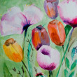 Royalty-Free Stock Photo: Watercolor tulips with poppy flowers