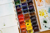 Colorful watercolor paintbox palette — Stock Photo