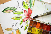 Old cell watercolor with floral drawing — Stock Photo