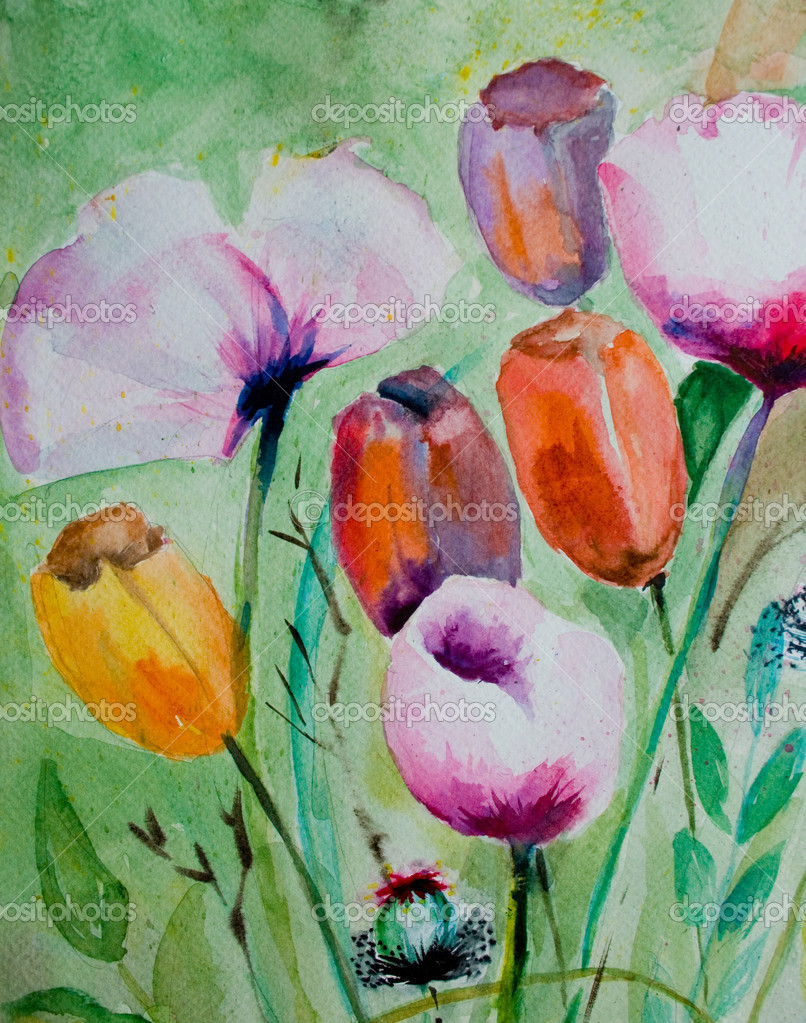 Watercolor tulips with poppy flowers — Stock Photo #9316128