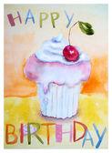 Cake with insription Happy Birthday — Stock Photo