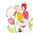 Tulips with poppy flowers — Stock Vector